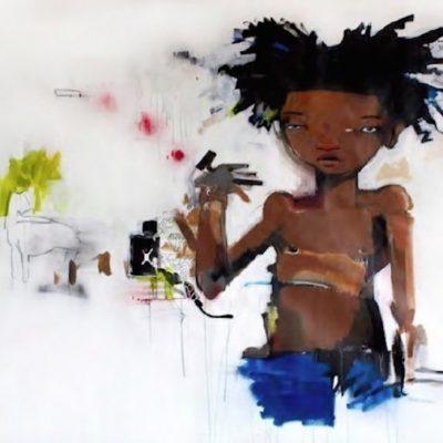 HabruBrantley, Brantley, paitnings, urban, graffiti, basquiat, Young Basquiat by Hebru Brantley