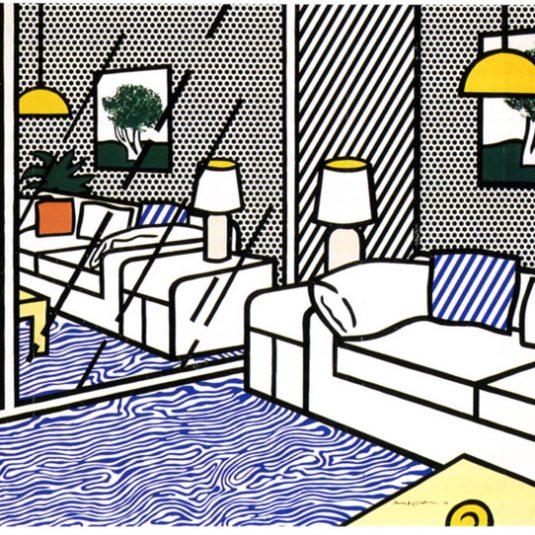 blue floor, roy lichtenstein, interior series, pop art