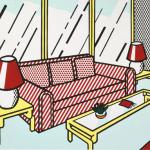 interior series, Roy Lichtenstein, pop art,Red Lamps by Roy Lichtenstein