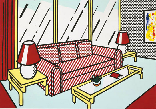 interior series, Roy Lichtenstein, pop art,Red Lamps by Roy Lichtenstein