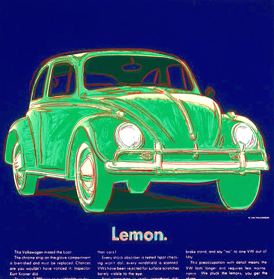 Volkswagon, Andy Warhol, Add Series, Volkswagon Andy Warhol, Volkswagen lemon