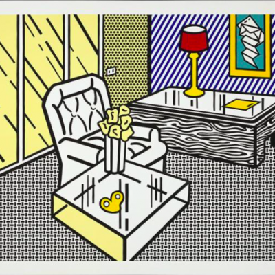 Roy Lichtenstein, pop art, interior series,The Den by Roy Lichtenstein