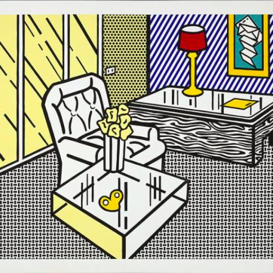 Roy Lichtenstein, pop art, interior series,The Den by Roy Lichtenstein