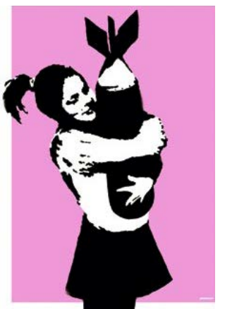 banksy, graffiti, urban art, street art, Bomb Lover by Banksy