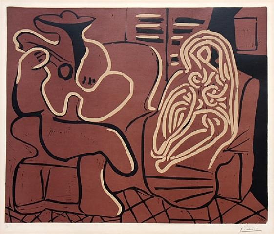 Femme Dans un Fauteuil Linocut by Picasso