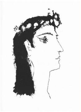 Femme e Profil Couronnee de Fleurs