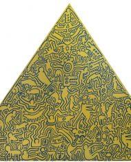 Pyramid (Gold) by Keith Haring