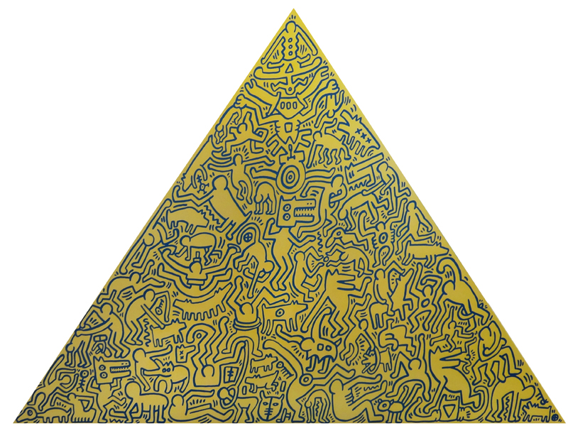 Pyramid (Gold) by Keith Haring