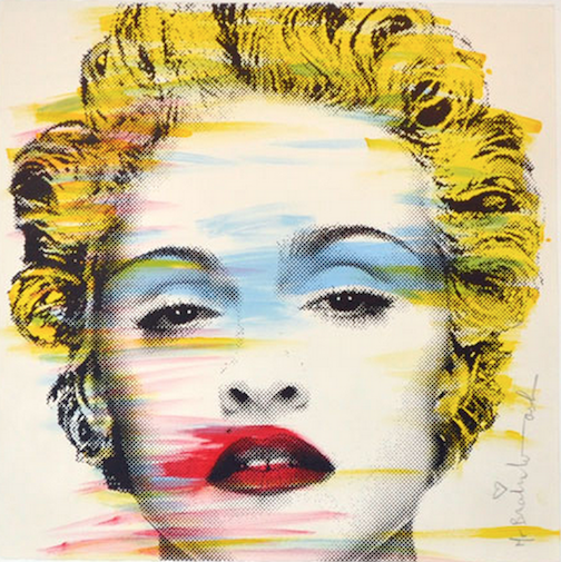 popular, mr. brainwash, madonna, painting