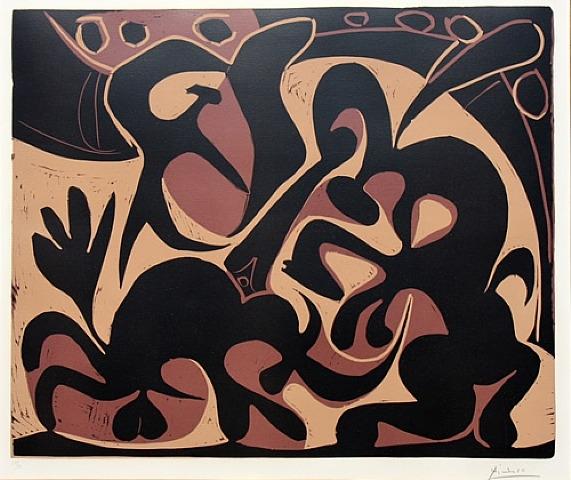 Noir et Beige Linocut by Picasso