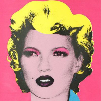 banksy, urban, street art, graffiti,Kate Moss by Banksy, Pink Kate Moss by Banksy