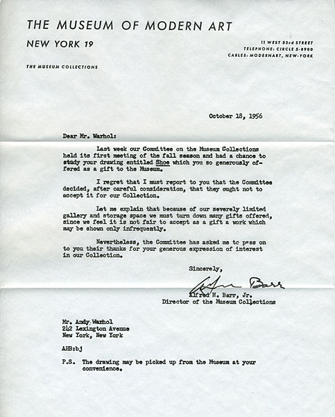 Andy, Warhol, MoMa, Rejection, Letter