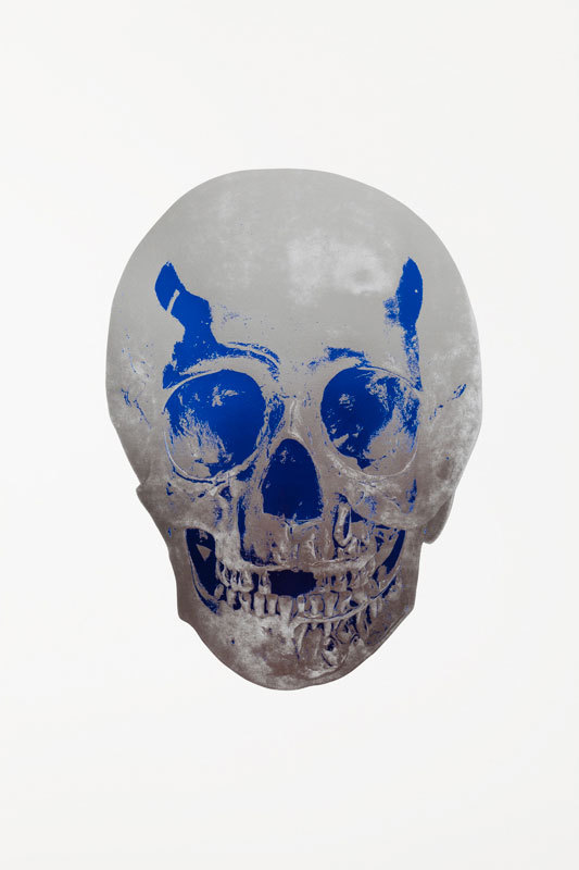 Silver Gloss Skull by Damien Hirst