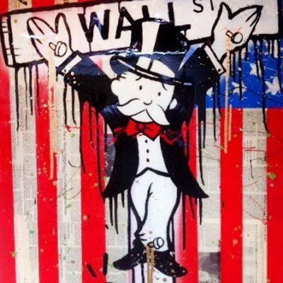 alecmonopoly, graffiti, urban, Wall Street Crucifix by Alec Monopoly