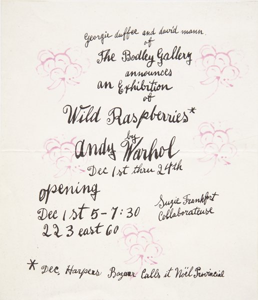 Andy Warhol Bodley Gallery Announcement