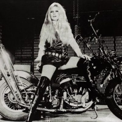 RUSSELLYOUNG, YOUNG, POPULAR, Brigitte Bardot on Bike by Russell Young