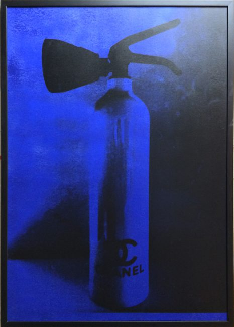 chanel fire extinguisher, yves klein blue, print, niclas castello
