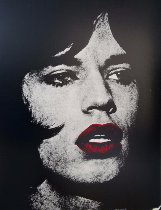 MICK JAGGER with red lips 2 by russell young
