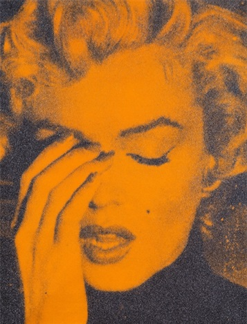 Marilyn Crying (orange) by russell young