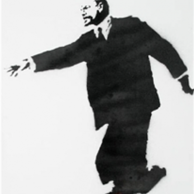 banksy, streetart, urban, graffiti, Lenin on Rollerblades by Banksy