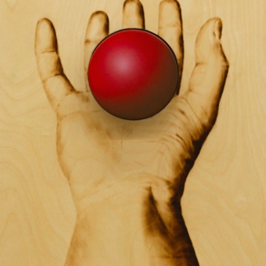 Red Ball on Hand by Ryan McCann , mccain, ryann mean, graphic