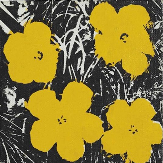 andywarhol, warhol, pop, popart, 5 inch Yellow Flower Painting Andy Warhol