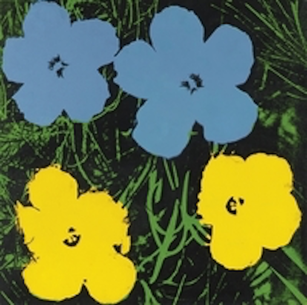 24 Inch Blue Yellow Flower Painting Andy Warhol Guy Hepner