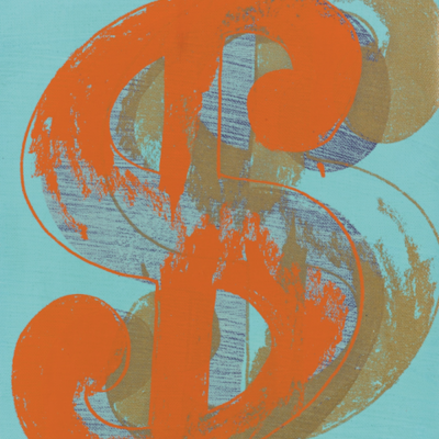 Single Dollar Sign by Andy Warhol (Orange)