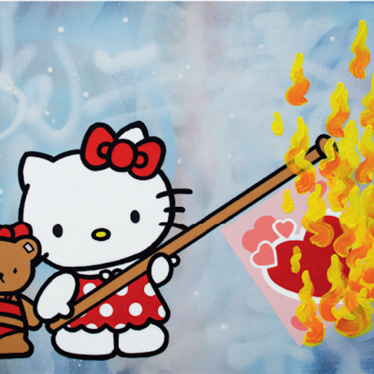 Burning Love, Herr Nilsson, street art, urban, hello kitty
