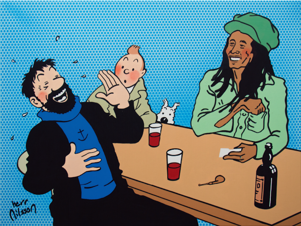 Haddock, Tintin and Bob Marley by Herr Nilsson