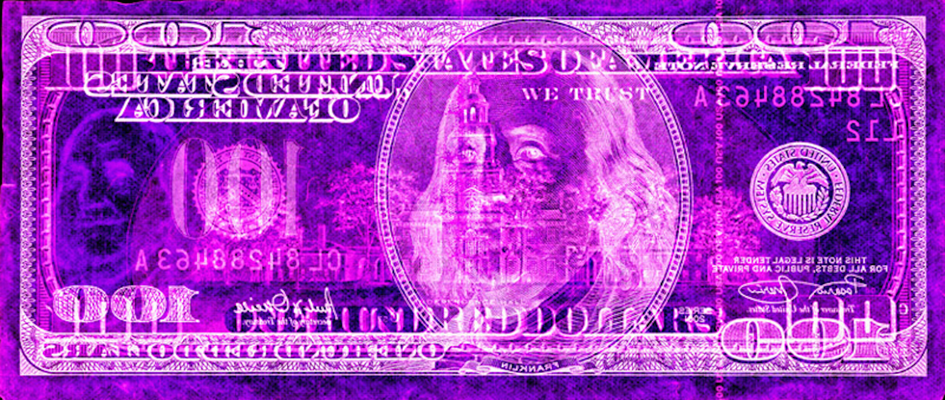 100 Dollars as Negative Currency by David LaChapelle