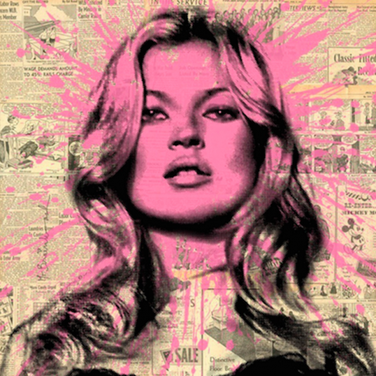 commercial, mr. brainwash, kate moss, pink, prints
