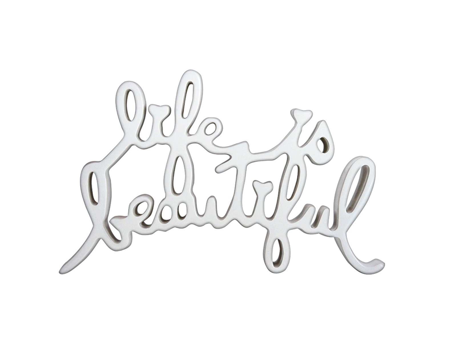 Life Is Beautiful – white by Mr. Brainwash