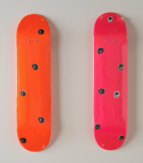supreme, set of 2 , skateboards, Nate Lowman