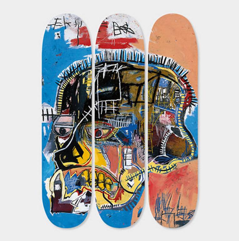 Untitled Skull Basquiat Skateboard Deck Triptych