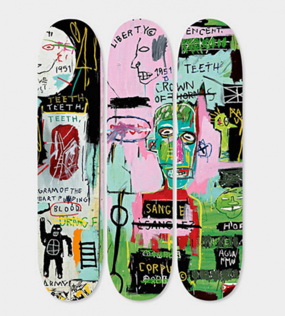 pop, basquiat, skateboard