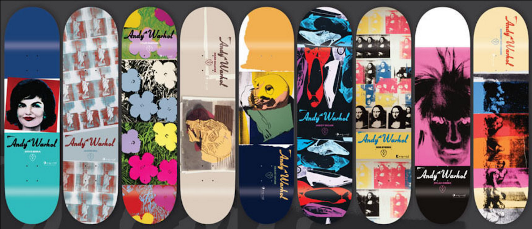 Set of 9 Supreme Andy Warhol Skateboard Decks