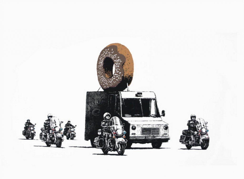 banksy, graffiti, urban art, street art, chocolate donut by banksy