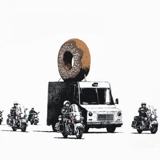 banksy, graffiti, urban art, street art, chocolate donut by banksy