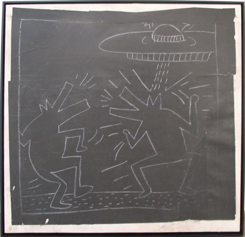 Untitled spaceship & 2 barking dogs by Keith Haring