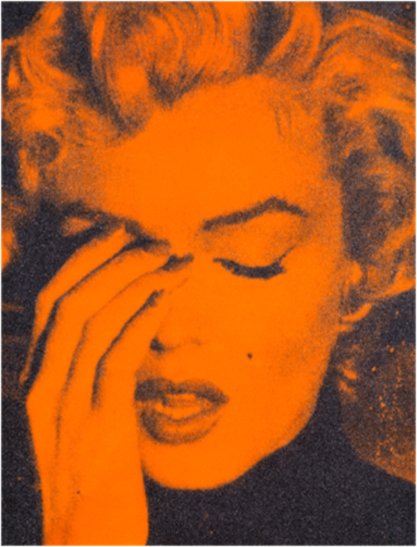 Marilyn Crying Amber and Black by Russell Young