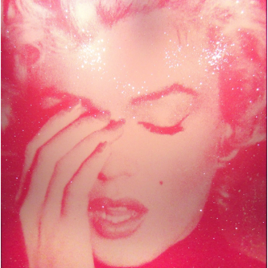 marilyn crying, light pink, dark pink, russell young