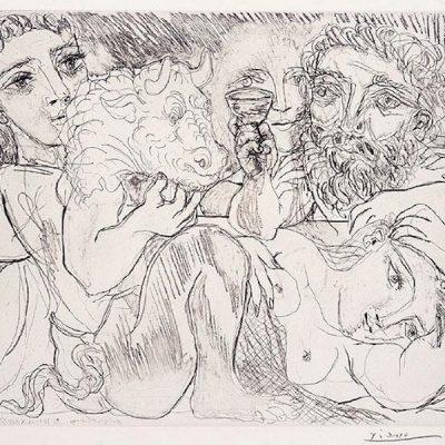 Minotaure, Buveur, et Femmes by Picasso