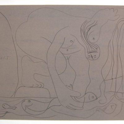 Femme Nue Pechant des Truites a la Main by Picasso