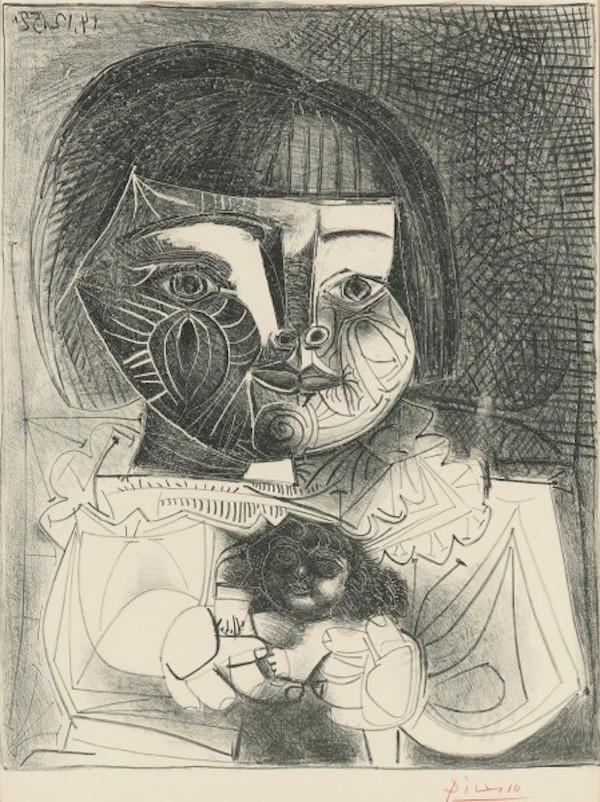 Paloma et sa Poupée sur Fond Noir by Picasso
