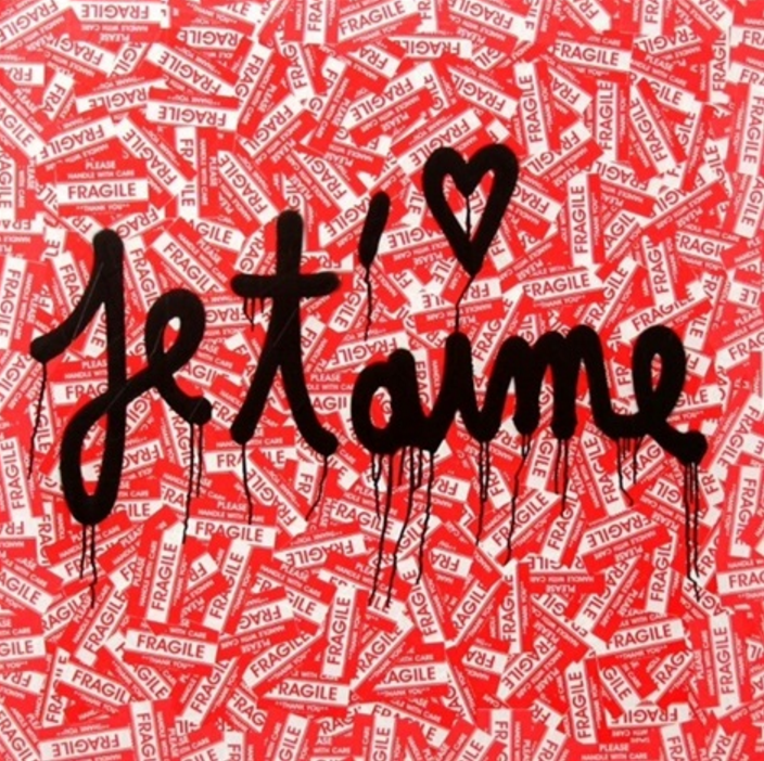Je T'aime (wood) by Mr. Brainwash