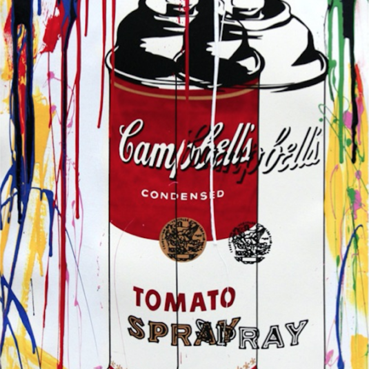 commercial, mr. brainwash, tomato spray, green, print