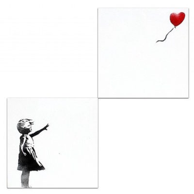 Girl with Balloon Diptych by Banksy