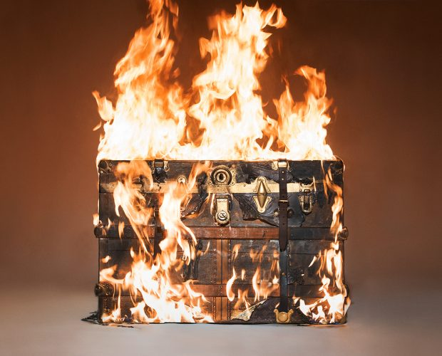 Louis Vuitton Trunk on Fire by Tyler Shields