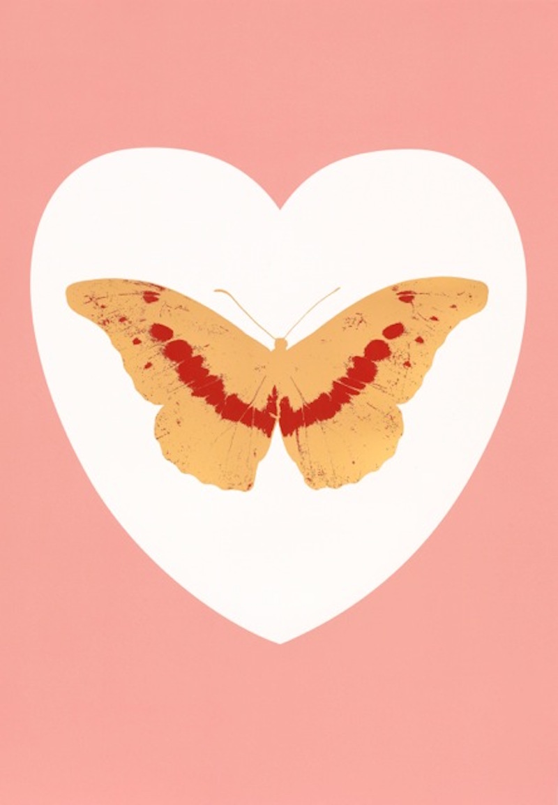 I Love You – white, pink, cool gold, poppy red by Damien Hirst
